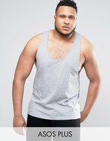 Asos PLUS Tank With Extreme Racer Back In Gray Marl