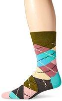 Happy Socks Men's 1 Pack Unisex Combed Cotton Crew-Pastel Argyle