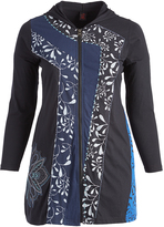 Aller Simplement Black & Blue Pattern-Stripe Zip-Up Hooded Jacket - Plus