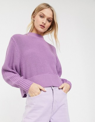 Monki ribbed jumper in lilac-Purple