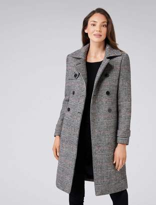 Ever New Emery Check Wool-Blend Trench Coat