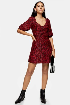 Topshop Red Corset Heart Mini Dress