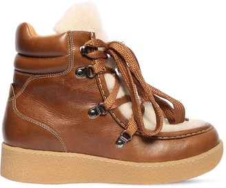 Isabel Marant 30mm Alpica Shearling & Leather Boots