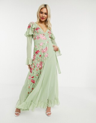 ASOS DESIGN embroidered wrap maxi dress with pephem and fluted sleeve in sage green
