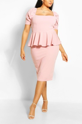 boohoo Plus Peplum Puff Sleeve Midi Dress