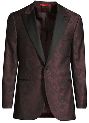 Isaia Tonal Floral Jacquard Wool Single-Breasted Jacket