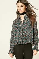 Forever 21 Semi-Sheer Floral Print Shirt