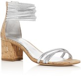 Donald J Pliner Essie Metallic Strap Cork Heel Sandals