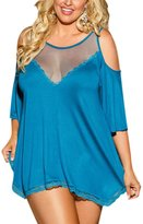 TopTie Lady Cold Shoulder Babydoll Dress Splicing Chemise Sleepwear Lingerie - ,XXXL