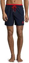 Vilebrequin Moka Bi-Color Swim Trunks, Navy/Red