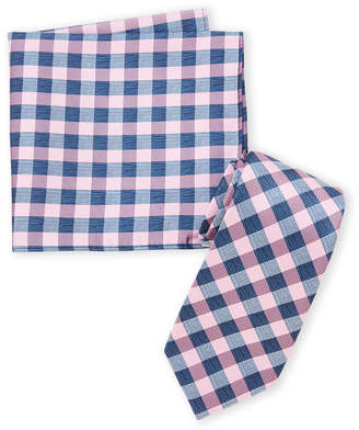 Nautica Pink Check Pattern Tie & Pocket Square