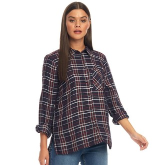 clear Only You Womens Nadia Long Sleeve Woven Check Shirt Night Sky