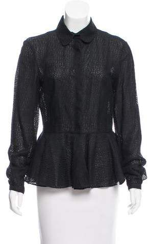 Alexander McQueen Peplum Button-Up Top
