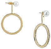 Kate Spade Shine On Faux-Pearl & Pave Drop Hoop Front/Back Earrings