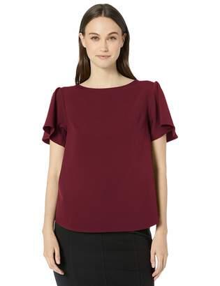 Lark & Ro Stretch Twill Short Sleeve Flutter Top Shirt
