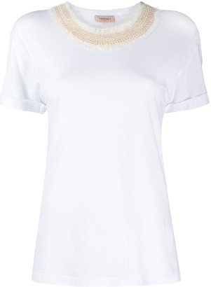 Twin-Set pearl-embellished neck T-shirt