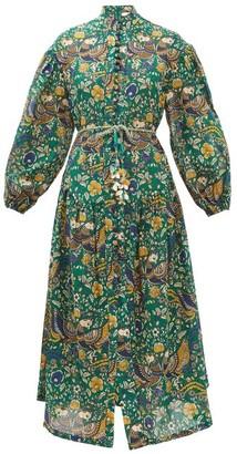 Zimmermann Edie Balloon-sleeve Peacock-print Cotton Dress - Green Print