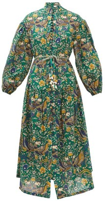 Zimmermann Edie Balloon-sleeve Peacock-print Cotton Dress - Womens - Green Print