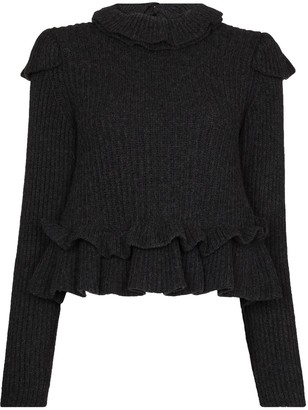 Ganni Ruffle Open Back Wool Jumper