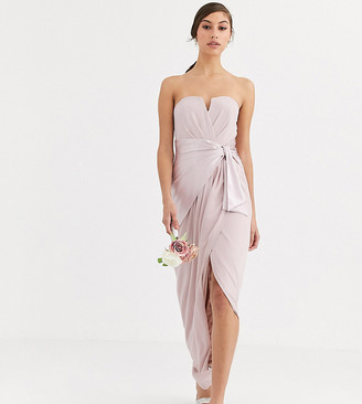 TFNC Tall Bridesmaid bandeau maxi wrap dress with satin front detail in taupe