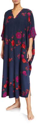 Natori Plus Size Botanica Floral Zip-Front Caftan