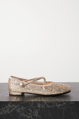 Miu Miu Glittered Leather Ballet Flats - Gold