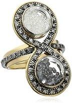 "Moritz Glik Kaleidoscope"" 18K Yellow Gold and Oxidized Silver with Black and White Diamonds Ring, Size 7"