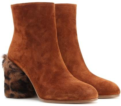 Miu Miu Suede and fur ankle boots
