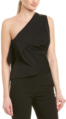 Narciso Rodriguez One-Shoulder Draped Wool-Blend Top