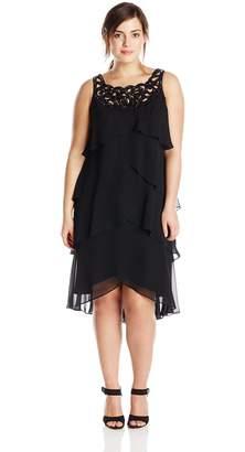 SL Fashions Women's Plus-Size Beaded Neck Tiered Dress