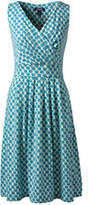 Lands' End Women's Petite Fit and Flare Dress-Rich Aqua Watercolor Geo