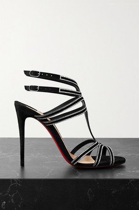 Christian Louboutin Renee Strass 100 Crystal-embellished Suede Sandals - Black