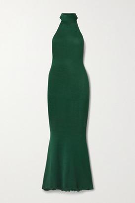 Savannah Morrow The Label net Sustain Eir Silk And Organic Cotton-blend Turtleneck Maxi Dress - Emerald