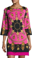 Julie Brown Merrie Printed Bell-Sleeve Shift Dress, Wine Regatta