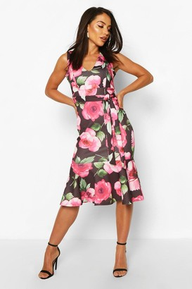 boohoo Large Floral Print Belted Frill Hem Midi Dress