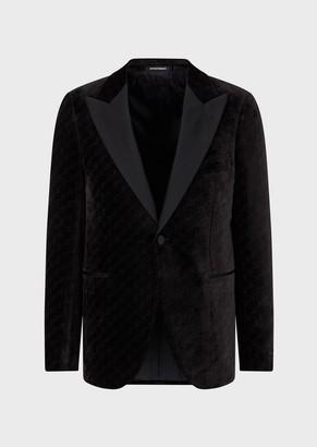 Emporio Armani Slim-Fit Tuxedo Jacket In Cloque Velvet