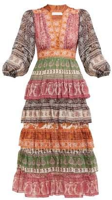 Zimmermann Amari Paisley Print Tiered Voile Dress - Womens - Multi
