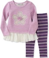 Kids Headquarters Purple Flower Tunic & Floral Leggings - Infant