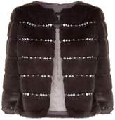 Ted Baker Maiicy Embellished Faux Fur Jacket