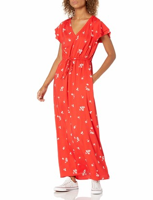 Goodthreads Amazon Brand Women's Georgette Ruffle-Sleeve Maxi Dress