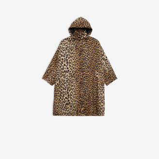 Balenciaga Opera Raincoat in beige and black Leopard printed nylon