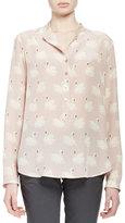 Stella McCartney Estelle Swan-Print Blouse, Dusted Pink
