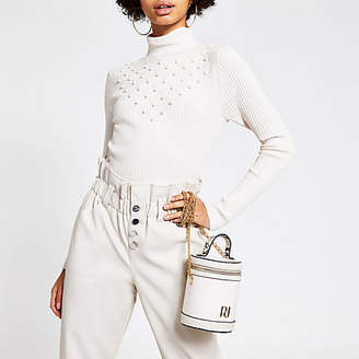 River Island Cream pearl roll neck knitted jumper