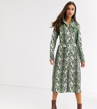 Glamorous Tall midi shirt dress in bold snake print