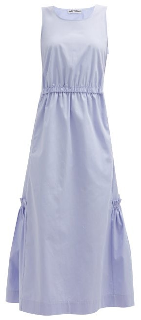 Molly Goddard Marella Cutout-back Cotton-scuba Midi Dress - Light Blue