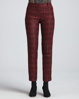 Tory Burch Drew Glazed Tweed Pants, Dark Plum