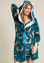 ModCloth Fleece Robe with Hood in Foxes in XS - Wrap Short Length