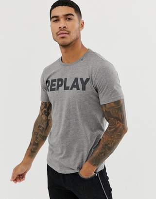 Replay bold logo crew neck t-shirt in grey