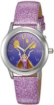 Disney Girl's 'Rapunzel' Quartz Stainless Steel and Leather Automatic Watch, Color:Purple (Model: W002965)