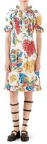 Gucci Corsage-Print Cotton Dress, Ivory